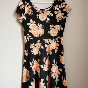 *2/$12*Sears Dress Black w/ Salmon Floral Print